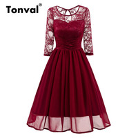 Tonval Vintage Lace Dress Women Chiffon Pleated Dress Sexy See Through Burgundy Red Elegant Evening Party