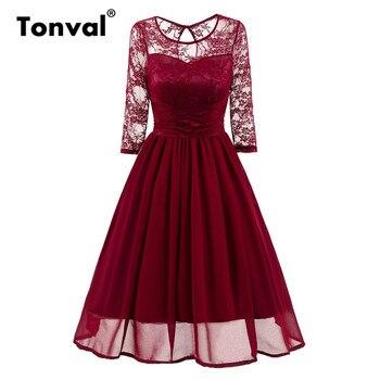 60c42121832 Tonval винтажное шифоновое Плиссированное кружевное платье женское  сексуальное бордовое красное платье Элегантное летнее Ретро вечерние пла.