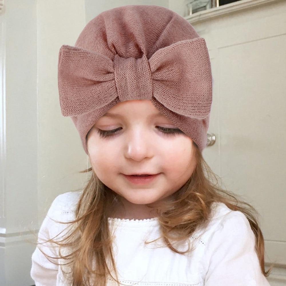 Newborn Baby Girl Boy Infant Toddler Bow Knit Crochet Hat Winter Warm Beanie CP