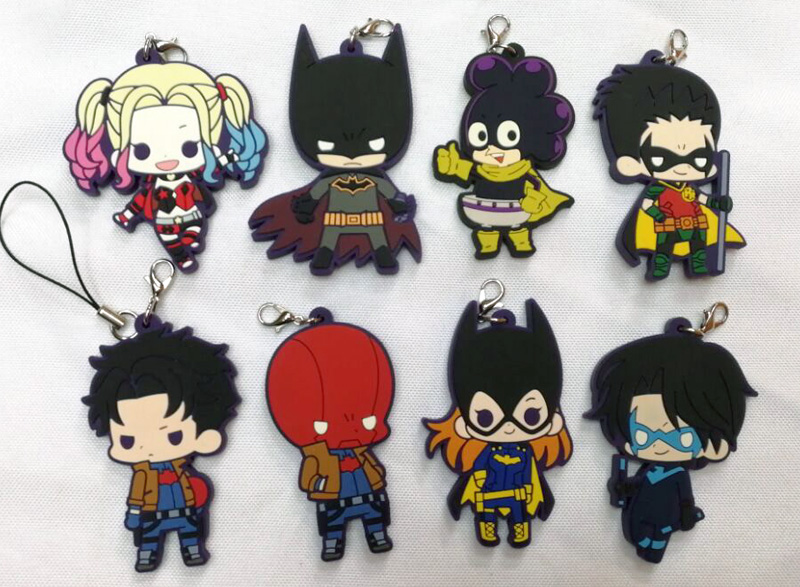 DC anime superhero figures Batman,Robin,Nightwing,Harley Quinn Genuine pvc figure phone strap/keychain pendant toys