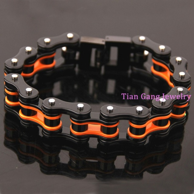 Heavy 149g 316l Stainless Steel Bracelets Long Biker Bicycle Chain Men Male Accessory H Clasp 215mm Length