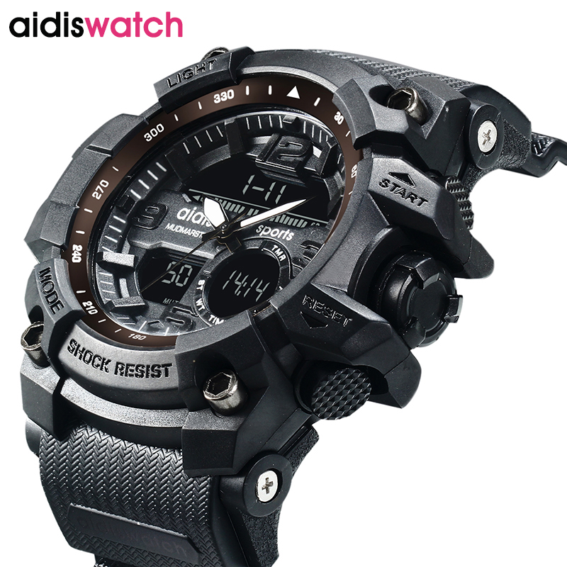 AIDIS brand men s sports font b watches b font waterproof military LED digital quartz electronic