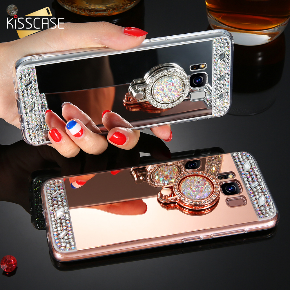 KISSCASE Diamond Ring Holder Phone Case For Samsung Galaxy J3 J5 2016 Luxury Mirror Case ...