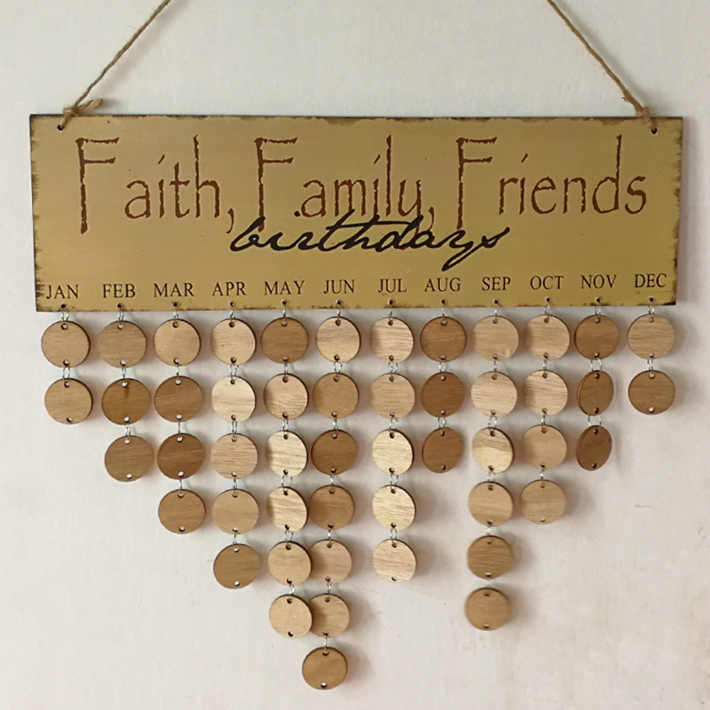 New wood birthday calendar diy reminder board ply plaque sign family friends calendar wooden signs decor calendrier anniversaire in plaques signs from