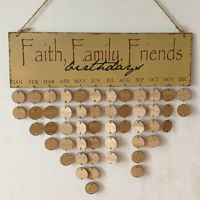 online shop new wood birthday calendar diy reminder board ply plaque