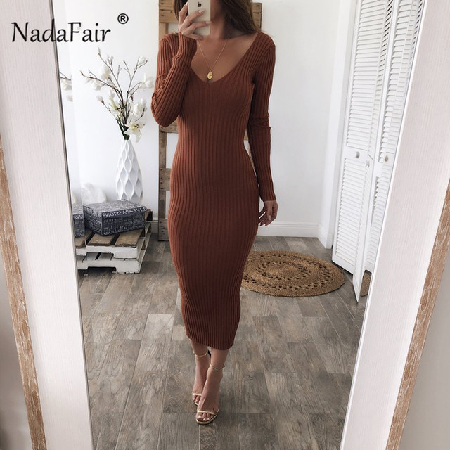 Sexy knitted sweater long dresses