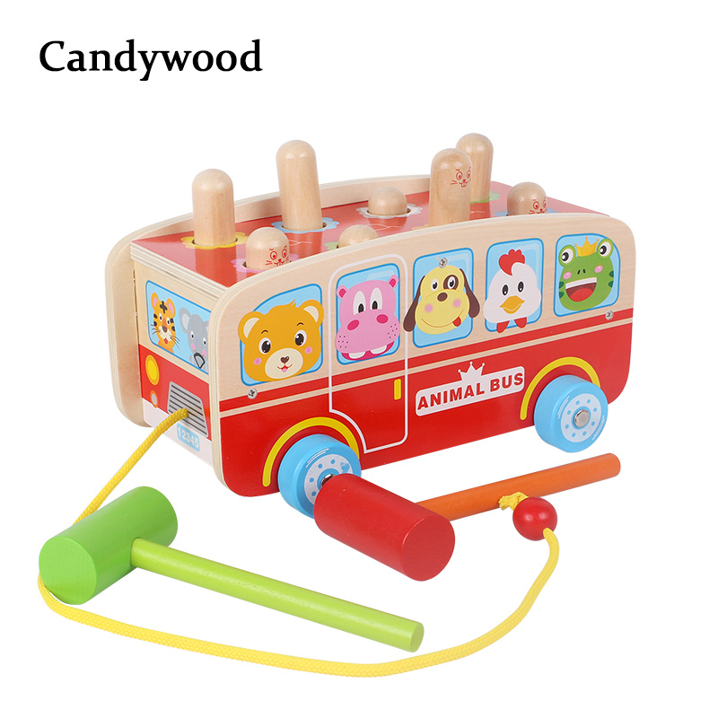 2018 New Wooden Toys Enlightenment Percussion Toy Wooden Blocks Beat Hamster Colorful Tap Car Educational Toys Children Baby forest animals 100pcs blocks girls 1 6 years educational baby toys environmental protection wooden children creature boy toy