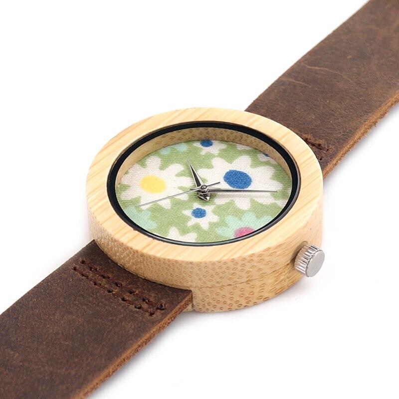 Bobo Vogel 37mm Frauen Damen Armbanduhr Marke Bambus Uhr Sepcial