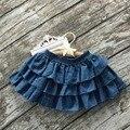 Super suave bab niñas faldas faldas boutique jeans mini juegos de falda del tutú pettiskirt infantil niños colegiala verano midi
