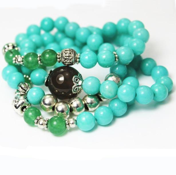 Ceramic and Blue Mountain Jade Bracelet Set