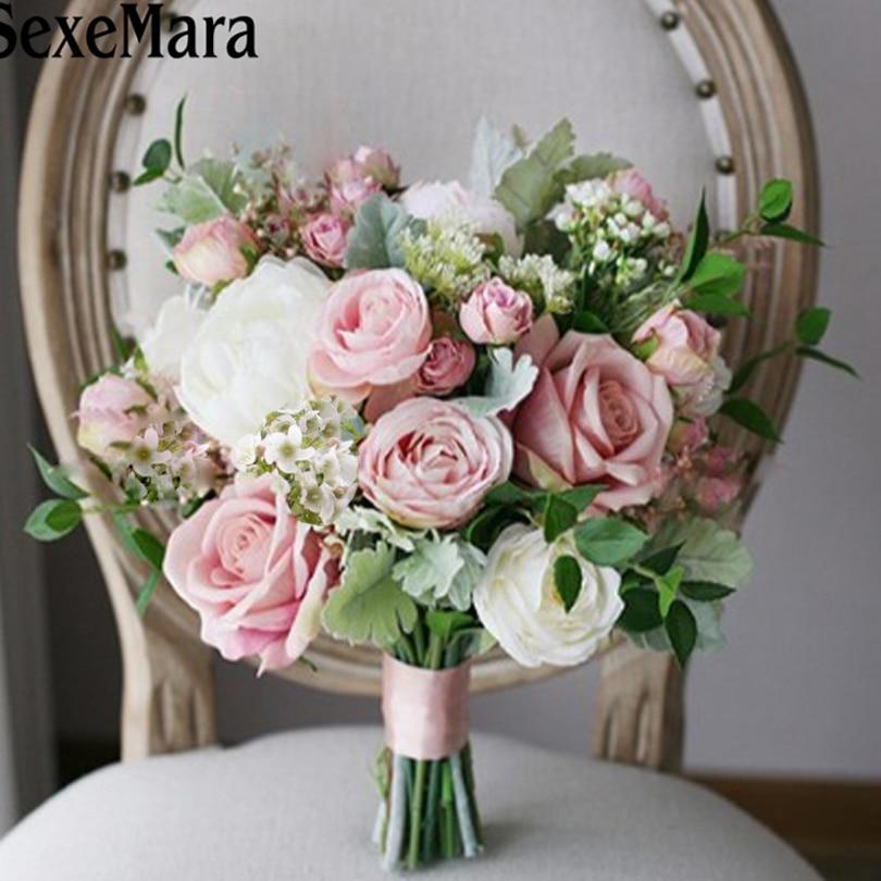SexeMara Ramo de flores novia pink beach wedding flowers bridal bouquets vintage wedding decoration artificial wedding
