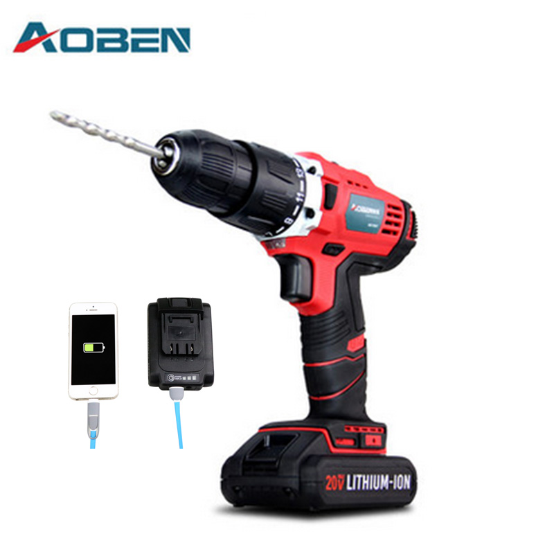 AOBEN 20V AC Lithium Battery Dremel Cordless Drill Power Electrical Tools Drilling Machine Impact