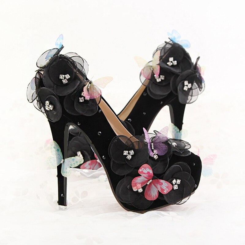 Décorer Main Personnalisé La Dame Portant Noir Papillon Mariée Mariage Chaussures Tête De 39 on Profonde Ronde À Fleurs 34 Peu Slip rB7t7xYn