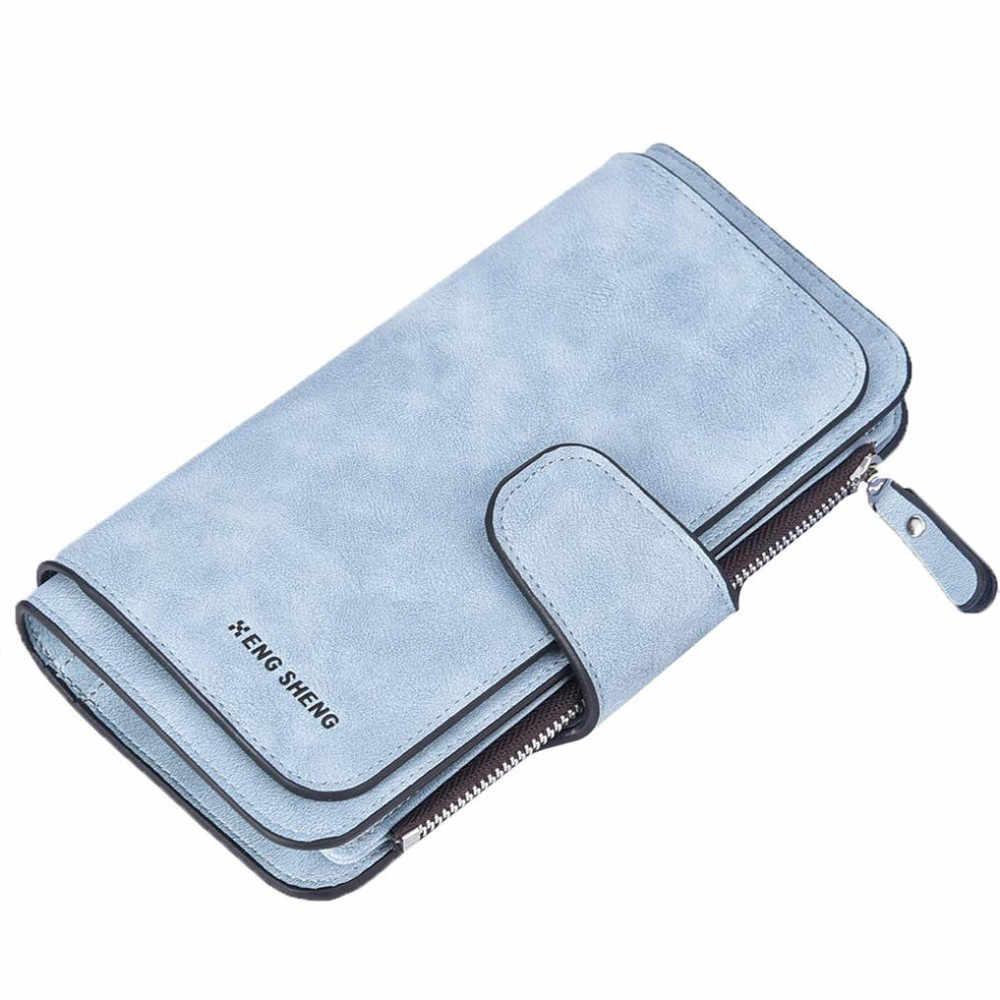 2019 nueva llegada Cartera de cuero para mujeres de diseño de alta calidad bolsos para tarjetas cartera larga para mujeres 6 colores cartera para damas C509