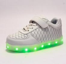 Children Fashion Luminous Shoes LED Light USB Charge Flashing Breathable Child Sneakers Kids Boys Girls Casual Glowing Shoes
