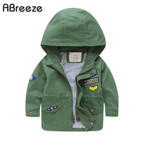 England style autumn children Trench cotton kids outerwear & coats for boys 3Y 11Y color green blue baby boys hooded jackets