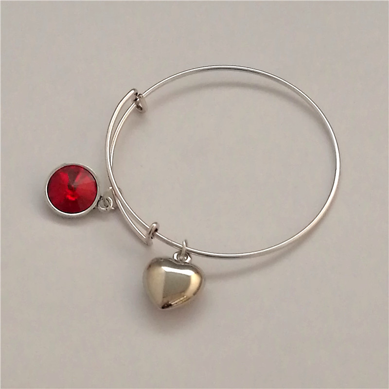 12-color birthday stone bangle popular style push-pull active coil bracelet factory direct sale spot