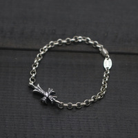 Starfield Thai Silver Bracelet 925 Sterling Silver Decorated With Diamond Cross Section GD Ladies Fine Chain
