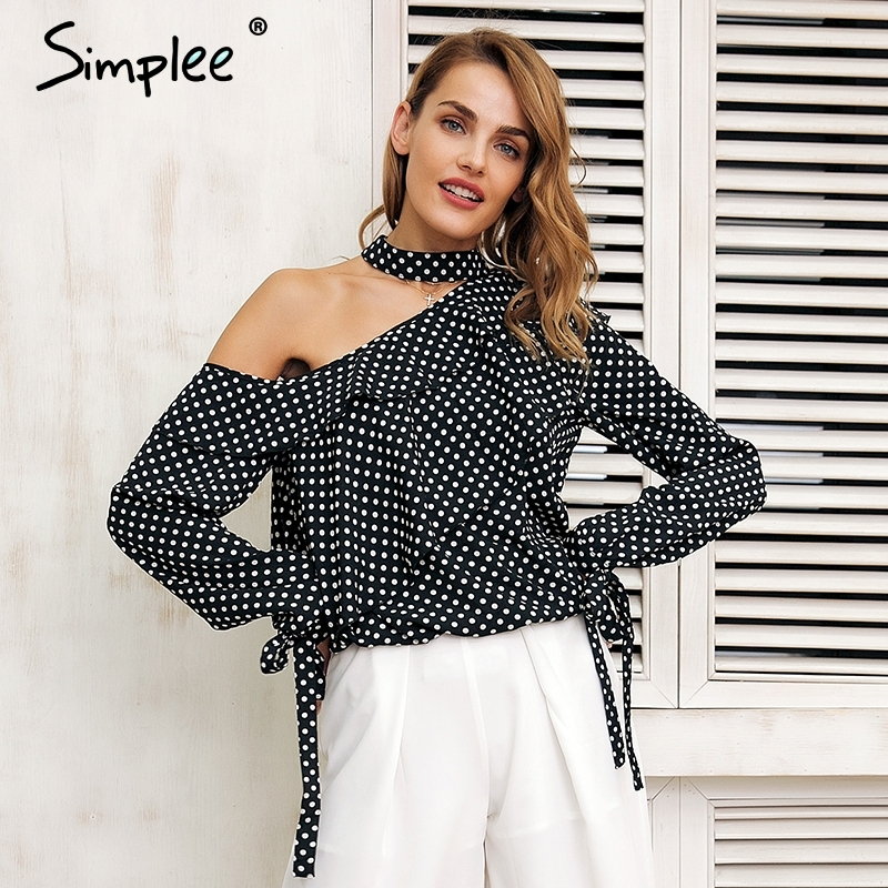 Simplee One shoulder polka dot blouse shirt Ruffle lantern sleeve vintage chiffon blouse Sexy bow women summer blouses 2019
