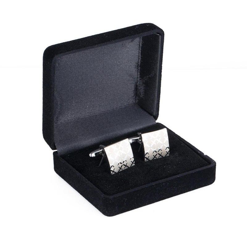 High Quality  Men's Cufflink Squre Laser Silver Plating Wedding Cuff Link 197a