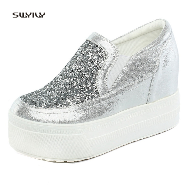 a011fc55ead SWYIVY Sneakers Shoes Platform Spring 2018 Sequins Wedge Casual Shoes Slp  On Lady 10cm High Heel Pedal Lazy Shoes Comfortable