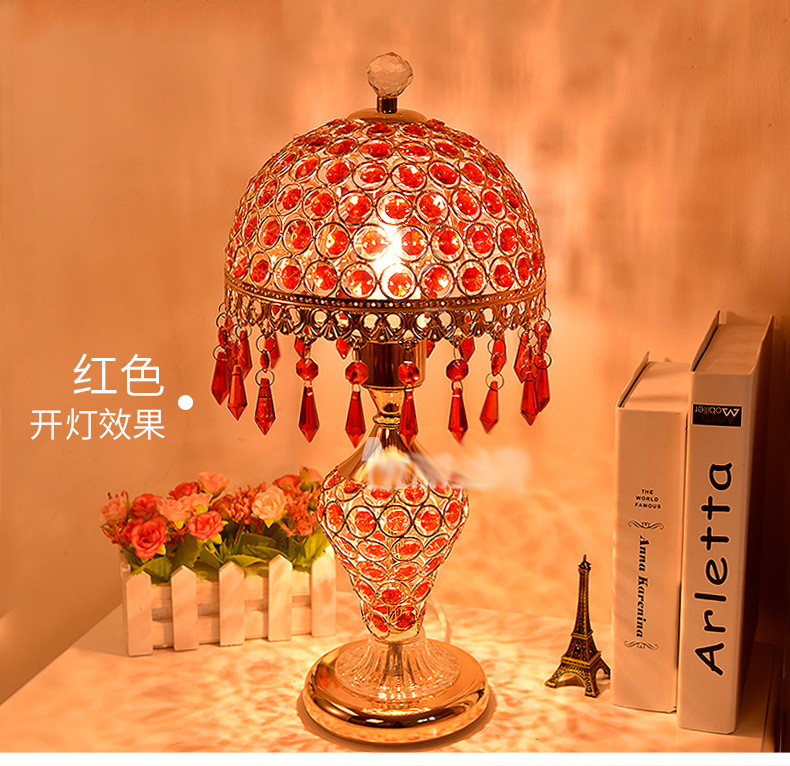 high quality modern crystal table lamps brief modern for bedroom living room light fixtures Gold Silver Red Optional crystal Led led bar table plastic luminous furniture high cocktail drinking table for living room dining room garden club party desk