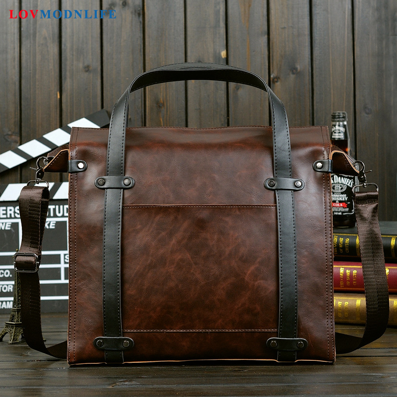 Mens Leather Briefcase Messenger Bags Business Computer Travel Bag Man Handbag Office Shoulder Bags Laptop Briefcases For Men