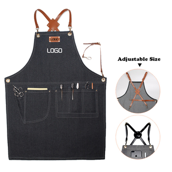 Barber Storage Apron Cowboy Leather Label Hanging Neck Hotel Restaurant Kitchen Cooking Apron Cafe Bakery Shop Waiter Work Apron
