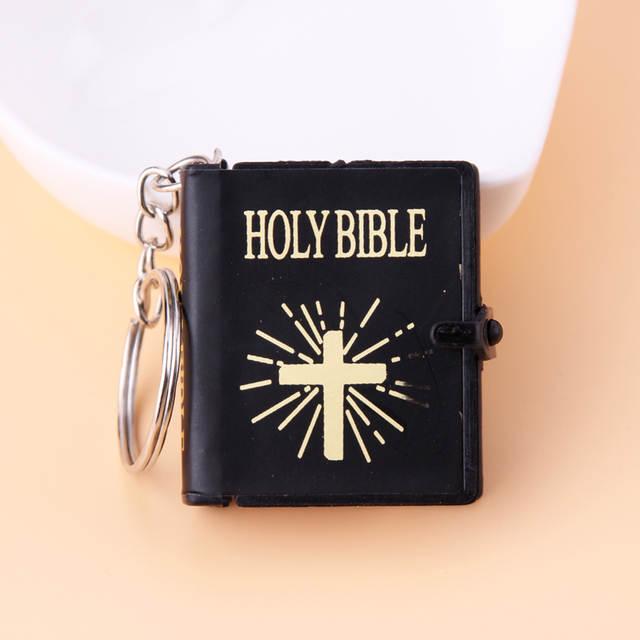 placeholder English Spanish Mini HOLY Bible Keychain Religious Christian  Jesus Cross Key Chain Women Prayer God Bless 063a383232a8