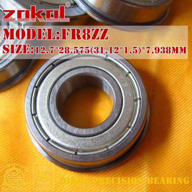 ZOKOL FR8 ZZ bearing FR8ZZ Flange bearing FR8-ZZ Deep Groove ball bearing 12.7*28.575(31.12*1.5)*7.9