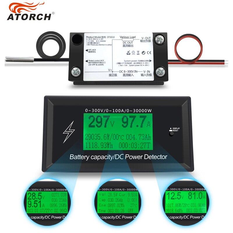 ATORCH DC 300 V 100A Genaue Energie Meter Spannung Strom Power Voltmeter Amperemeter Greem Hintergrundbeleuchtung Überlast Alarm Funktion innen