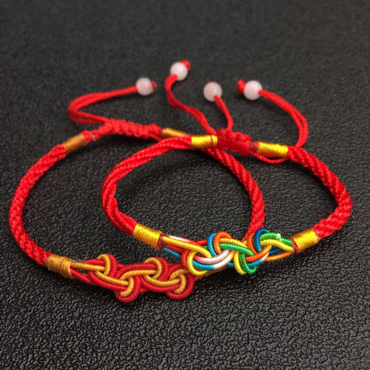 Personalized Hand Woven Red String Bracelet Jewelry DIY Colorful Evil Hand Rope Knot Rainbow Lucky Knot Cord Braided Bracelet