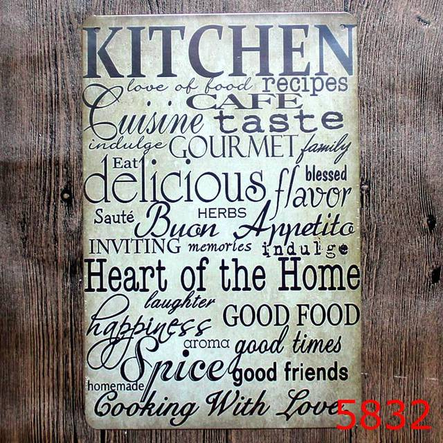 Merveilleux KITCHEN IS HEART OF HOME Tin Painting Board Vintage Tin Signs Painting Home  Decor Bar Wall