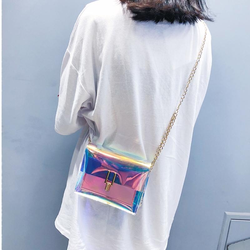 JIAOO Laser Transparent Bags Fashion Women Crossbody Bags for Women Korean Style Shoulder Bag Messenger PVC Waterproof Beach Bag 5