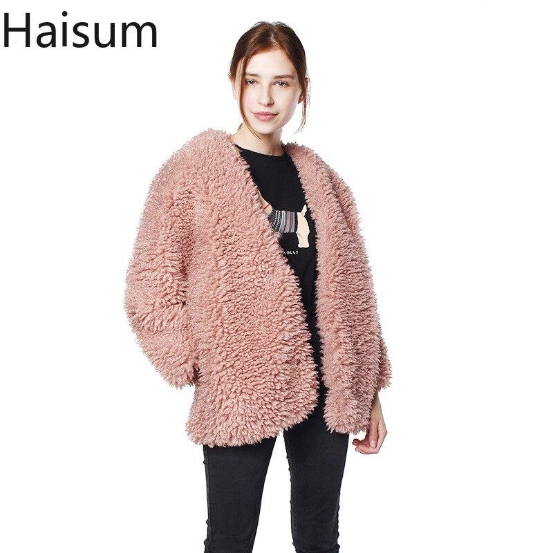 Warm winter faux fur coat women Fashion streetwear large sizes long coat female 2018Pink casual autumn coat outerwear NV066