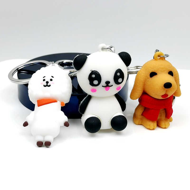 Personality Panda Sheep Dog Flamingo Unicorn Animal Rubber Keychain Cute Girl Keyring Backpack Pendant Couple Gift Jewelry