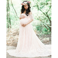 OkayMom Maternity Photography Props Sexy Lace Phoot Shoot Dresses For Pregnant Women Pregnancy Wear White Gown