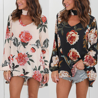Women Fashion Floral Print  Shirt V Neck Ladies Elegant Tops Clothing Shirts Long Sleeve Casual Female Plus Size Topsc Plus Size