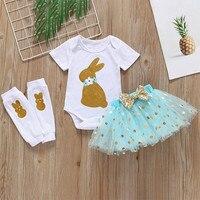 Summer Girls Fashion Clothing Set Cotton Casual Wear Baby Girls Dot Cartoon Clothes Rabbit Dot TuTu Sequins Skirt Tops Sets B