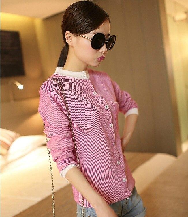 629-primavera 2014 fina de rayas de cuello de manga larga suéter 38 de la moda f