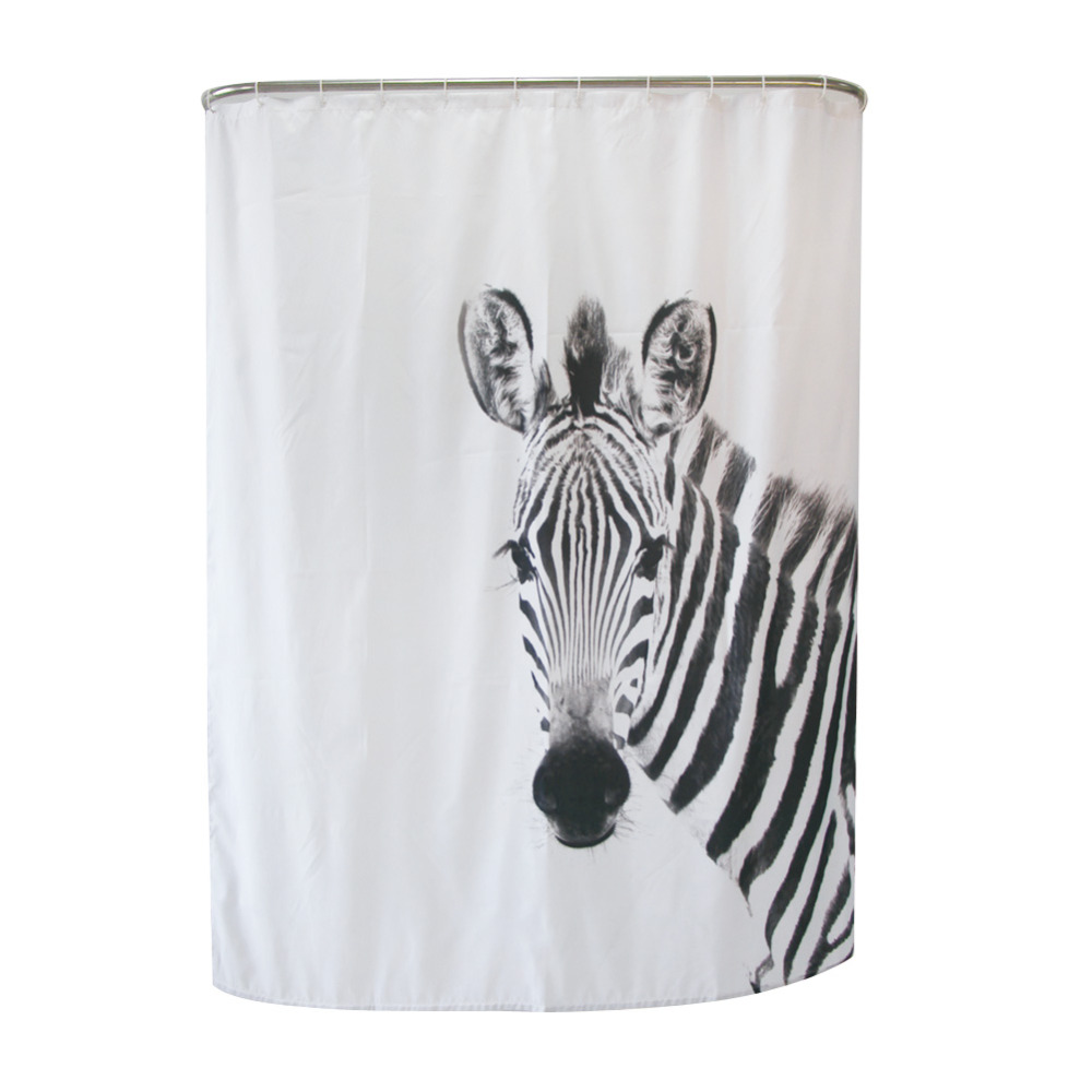 1.8x2m 3D Cute Zebra Shower Curtain Bathroom Door Curtain Waterproof  Mildewproof Polyester Large Bath Curtain
