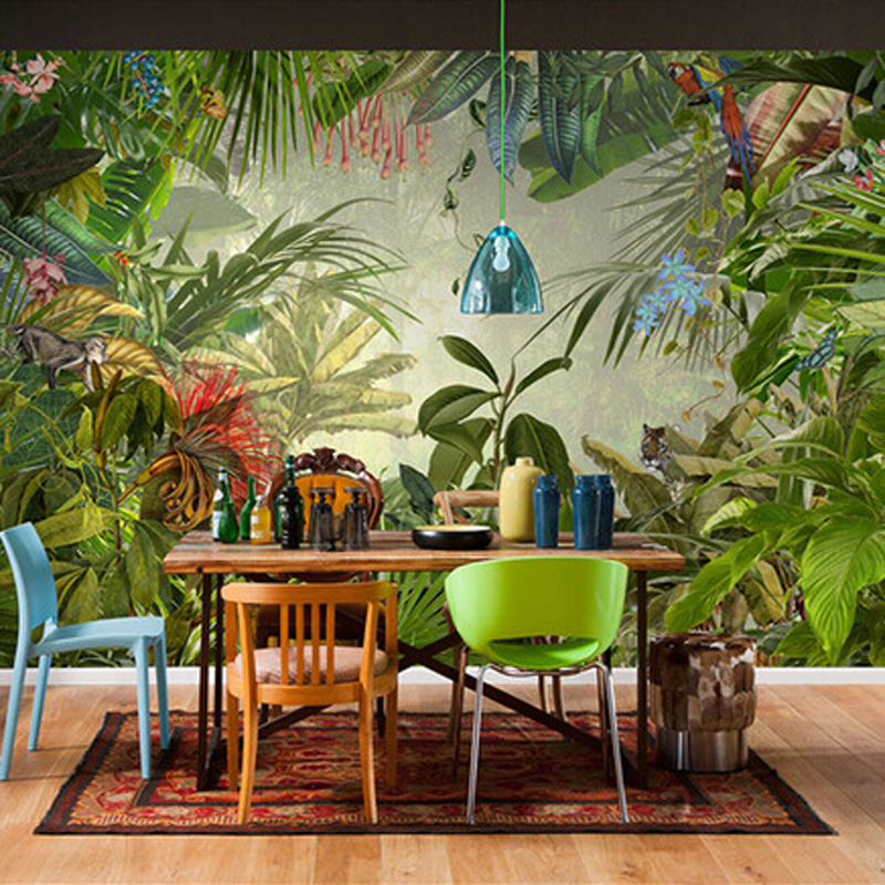Custom 3D Stereo Tropical Rainforest Banana Leaf Photo Wallpaper Background Wallpaper Mural Painting Fresco Dining Room TV Mural