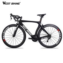 WEST BIKING Carbon Road Bike kompletny rower 22 prędkości 700C szosowy rower wyścigowy z SHIMANO R7000 rower z włókna węglowego Bicicleta tanie tanio Unisex Wiosna wideł (niska biegów bez tłumienia) 150-180 cm Zwyczajne pedału Rama twardego (nie tylny amortyzator) Pokój v hamulca