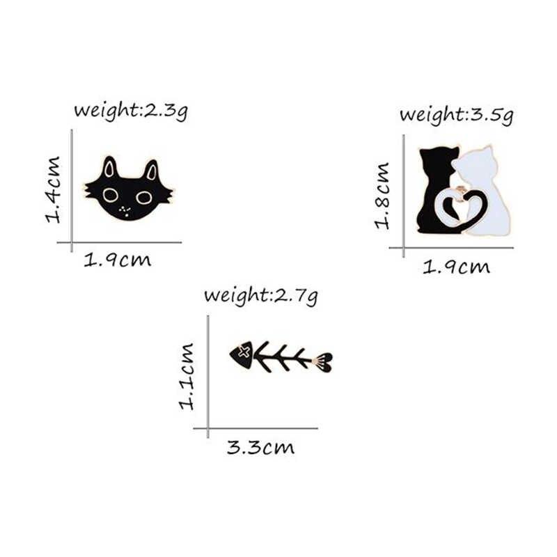 Güzel Hayvanlar Karikatür Broş Siyah Beyaz Kedi Balık Kemikleri Emaye Pin Ceketler Yaka Iğneler Kawaii Düğme Rozetleri Kız Çocuklar Takı