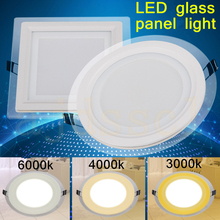 LED Square Panel Glass Dimmable 6W 12W 18W LED Panel Downlight Cover Lights High Bright Ceiling Recessed Lamps AC85-265 + Driver