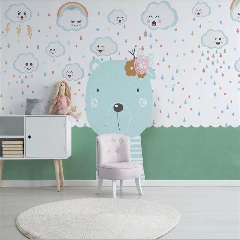 Custom wallpaper Nordic minimalist hand-painted cartoon animal bear cloud childrens room background wall waterproof material