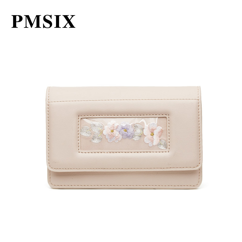 PMSIX Women Shoulder Bag 2019 Casual Embroidery Flowers Simple Long Straps Small Flaps Brand Designer Handbags for Women - 3