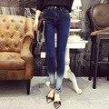 En la primavera de 2016 nueva Corea moda cintura delgada gradiente flecos denim pantalones lápiz pies pantalones pantalones femeninos