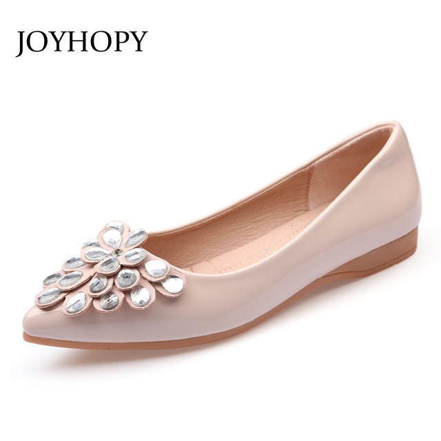 JOYHOPY Spring Summer Fashion Crystal Flower Flat Shoes Women Ballet Flats  Pointed Toe Shallow Top Loafers Woman Oxfordes AWF068 86586a3a1605