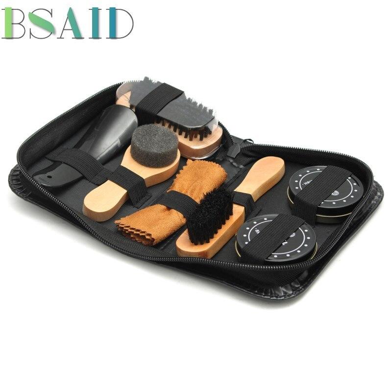 BSAID 7 pcs Chaussures Brosse Kit Outil Nettoyant Pour Cuir Professionnel Chaussures soins Manche En Bois Brosse À Chaussures Éponge Essuie Soins de Cirage huile